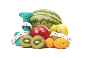fruits and a tape measure